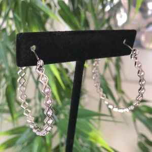 Express cubic zirconia silver hoops